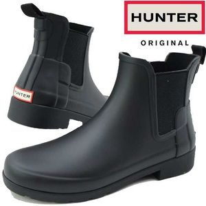 Hunter refined chelsea ankle black  rain boots
